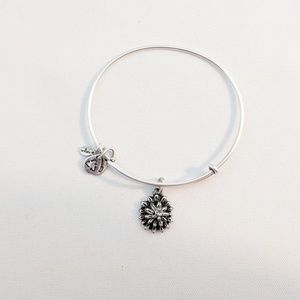 Alex & Ani Silver March Water Lily Charm Bracelet